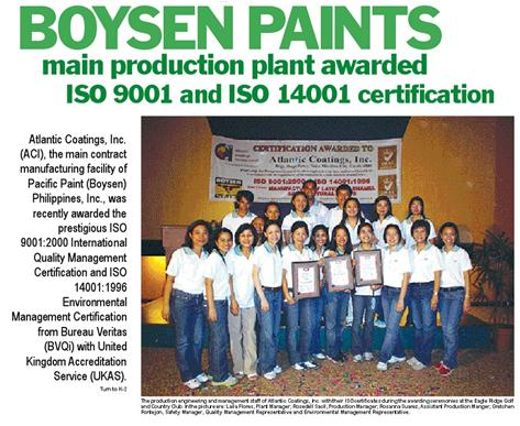 Atlantic Coatings, Inc. awarded with ISO 9001:2000, ISO 14001:2004 and OHSAS 18001: 2007 Certification